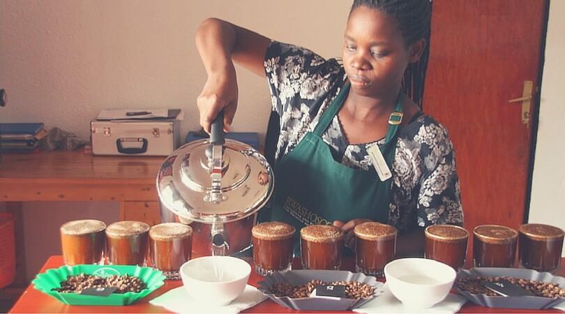 Kaffee-Verkostung bei Rwashoscco in Ruanda