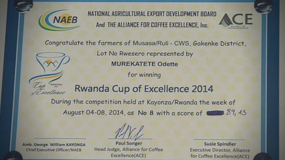 Musasa Ruanda Cup of Excellence 2014