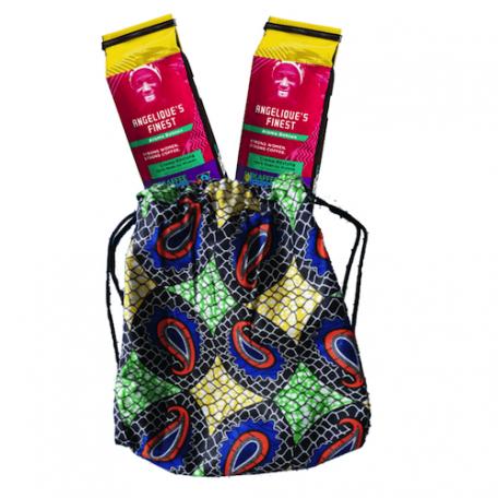 Rucksackbeutel im afrikanischen Design mit Angelique's Finest, Kaffee aus Frauenhand